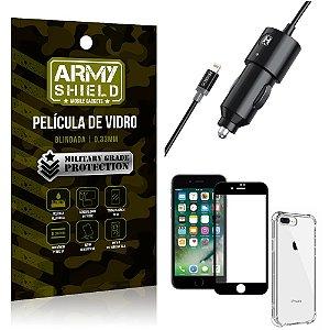 Carregador Veicular Turbo 4.0 Lightning iPhone 8 Plus + Capa Anti Impacto + Película Vidro 3D