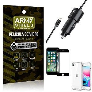 Carregador Veicular Turbo 4.0 Lightning iPhone SE 2020 + Capa Anti Impacto +Película Vidro 3D