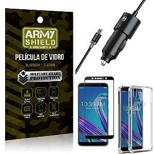 Carregador Veicular Turbo 4.0 Zenfone Max Pro M1 ZB602KL + Capa Anti Impacto + Película 3D