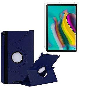 Capa Giratória Azul Marinho + Película de Vidro Blindada Samsung Galaxy Tab S5e 10.5 T725 Armyshield