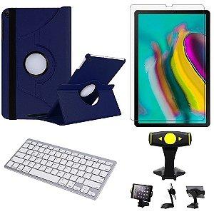 Capa Giratória Azul Marinho Samsung Tab S5e 10.5 T725 + Película + Teclado + Suporte Mesa Armyshield
