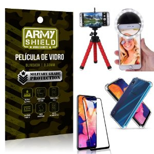 Kit Mini Tripé + Selfie Ring Light Galaxy A10 + Capa Anti Impacto + Película Vidro 3D
