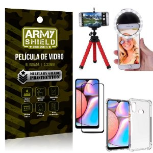 Kit Mini Tripé + Selfie Ring Light Galaxy A10s + Capa Anti Impacto + Película Vidro 3D