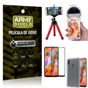 Kit Mini Tripé + Selfie Ring Light Galaxy A11 + Capa Anti Impacto + Película Vidro 3D