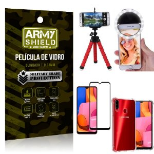 Kit Mini Tripé + Selfie Ring Light Galaxy A20s + Capa Anti Impacto + Película Vidro 3D