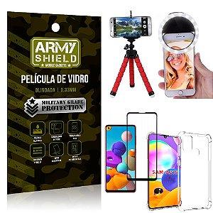 Kit Mini Tripé + Selfie Ring Light Galaxy A21s + Capa Anti Impacto + Película Vidro 3D