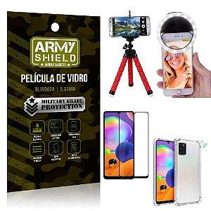 Kit Mini Tripé + Selfie Ring Light Galaxy A31 + Capa Anti Impacto + Película Vidro 3D