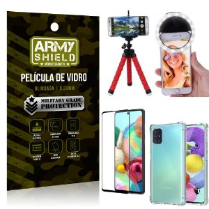 Kit Mini Tripé + Selfie Ring Light Galaxy A71 + Capa Anti Impacto + Película Vidro 3D