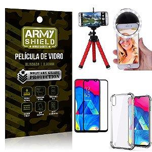 Kit Mini Tripé + Selfie Ring Light Galaxy M10 + Capa Anti Impacto + Película Vidro 3D