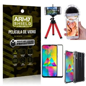 Kit Mini Tripé + Selfie Ring Light Galaxy M20 + Capa Anti Impacto + Película Vidro 3D