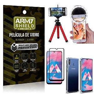 Kit Mini Tripé + Selfie Ring Light Galaxy M30 + Capa Anti Impacto + Película Vidro 3D