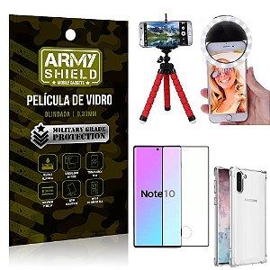 Kit Mini Tripé + Selfie Ring Light Galaxy Note 10 + Capa Anti Impacto + Película Vidro 3D