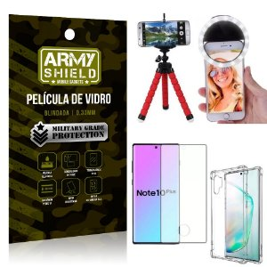 Kit Mini Tripé + Selfie Ring Light Galaxy Note 10 Plus + Capa Anti Impacto + Película 3D