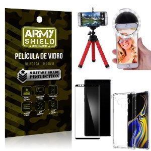 Kit Mini Tripé + Selfie Ring Light Galaxy Note 9 + Capa Anti Impacto + Película Vidro 3D