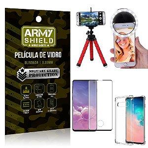 Kit Mini Tripé + Selfie Ring Light Galaxy S10 + Capa Anti Impacto + Película Vidro 3D