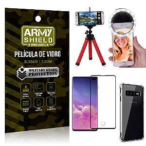 Kit Mini Tripé + Selfie Ring Light Galaxy S10 Plus + Capa Anti Impacto + Película Vidro 3D