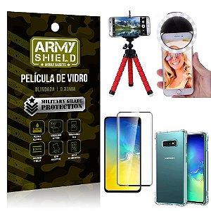 Kit Mini Tripé + Selfie Ring Light Galaxy S10e + Capa Anti Impacto + Película Vidro 3D