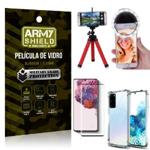 Kit Mini Tripé + Selfie Ring Light Galaxy S20 Plus + Capa Anti Impacto + Película Vidro 3D