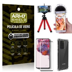 Kit Mini Tripé + Selfie Ring Light Galaxy S20 Ultra + Capa Anti Impacto + Película Vidro 3D