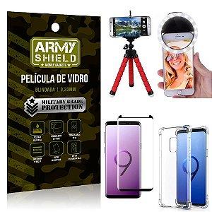Kit Mini Tripé + Selfie Ring Light Galaxy S9 + Capa Anti Impacto + Película Vidro 3D
