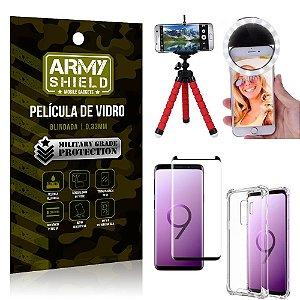 Kit Mini Tripé + Selfie Ring Light Galaxy S9 Plus + Capa Anti Impacto + Película Vidro 3D