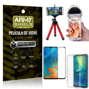 Kit Mini Tripé + Selfie Ring Light Huawei P30 + Capa Anti Impacto + Película Vidro 3D