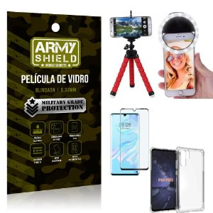 Kit Mini Tripé + Selfie Ring Light Huawei P30 Pro + Capa Anti Impacto + Película Vidro 3D