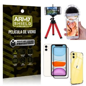 Kit Mini Tripé + Selfie Ring Light iPhone 11 6.1 + Capa Anti Impacto + Película Vidro 3D