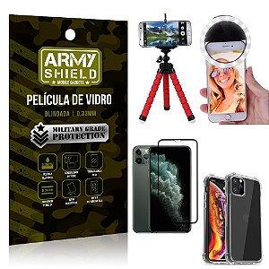 Kit Mini Tripé + Selfie Ring Light iPhone 11 Pro 5.8 + Capa Anti Impacto + Película 3D