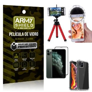 Kit Mini Tripé + Selfie Ring Light iPhone 11 Pro Max 6.5 +Capa Anti Impacto +Película 3D