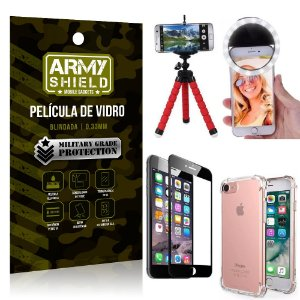 Kit Mini Tripé + Selfie Ring Light iPhone 6 - 6S + Capa Anti Impacto + Película Vidro 3D