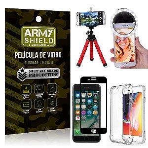 Kit Mini Tripé + Selfie Ring Light iPhone 7 + Capa Anti Impacto + Película Vidro 3D