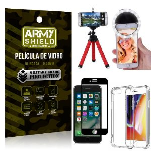 Kit Mini Tripé + Selfie Ring Light iPhone 7 Plus + Capa Anti Impacto + Película Vidro 3D