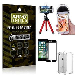 Kit Mini Tripé + Selfie Ring Light iPhone 8 + Capa Anti Impacto + Película Vidro 3D
