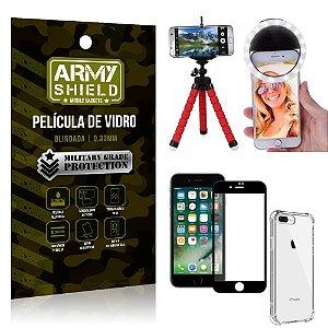 Kit Mini Tripé + Selfie Ring Light iPhone 8 Plus + Capa Anti Impacto + Película Vidro 3D