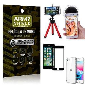 Kit Mini Tripé + Selfie Ring Light iPhone SE 2020 + Capa Anti Impacto +Película Vidro 3D