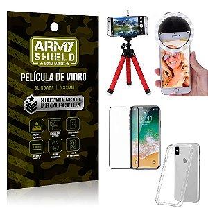Kit Mini Tripé + Selfie Ring Light iPhone X + Capa Anti Impacto + Película Vidro 3D