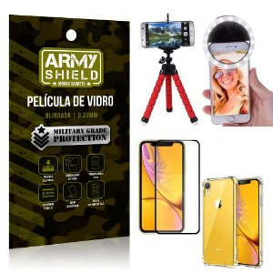 Kit Mini Tripé + Selfie Ring Light iPhone XR 6.1 + Capa Anti Impacto + Película Vidro 3D