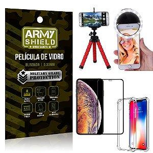 Kit Mini Tripé + Selfie Ring Light iPhone XS Max 6.5 + Capa Anti Impacto + Película 3D