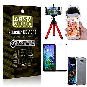 Kit Mini Tripé + Selfie Ring Light LG K12 Max + Capa Anti Impacto + Película Vidro 3D