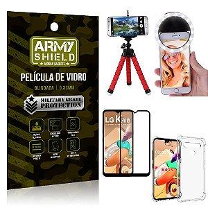 Kit Mini Tripé + Selfie Ring Light LG K41s + Capa Anti Impacto + Película Vidro 3D