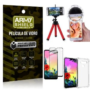 Kit Mini Tripé + Selfie Ring Light LG K50s + Capa Anti Impacto + Película Vidro 3D