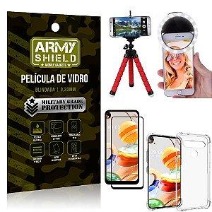 Kit Mini Tripé + Selfie Ring Light LG K61 + Capa Anti Impacto + Película Vidro 3D