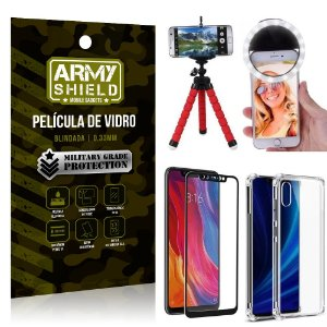 Kit Mini Tripé + Selfie Ring Light Mi 8 + Capa Anti Impacto + Película Vidro 3D