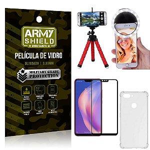 Kit Mini Tripé + Selfie Ring Light Mi 8 Lite + Capa Anti Impacto + Película Vidro 3D