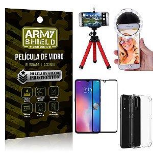 Kit Mini Tripé + Selfie Ring Light Mi 9 + Capa Anti Impacto + Película Vidro 3D