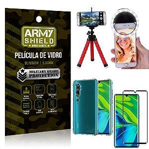 Kit Mini Tripé + Selfie Ring Light Mi Note 10/Note 10 Pro + Capa Anti Impacto + Película 3D