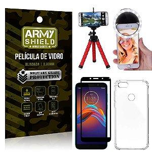 Kit Mini Tripé + Selfie Ring Light Moto E6 Play + Capa Anti Impacto + Película Vidro 3D