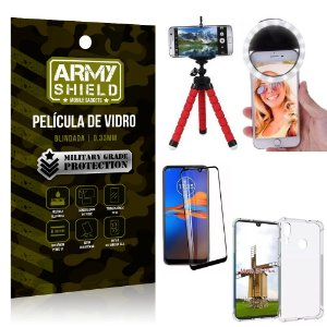Kit Mini Tripé + Selfie Ring Light Moto E6 Plus + Capa Anti Impacto + Película Vidro 3D
