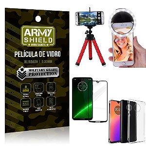 Kit Mini Tripé + Selfie Ring Light Moto G7 + Capa Anti Impacto + Película Vidro 3D